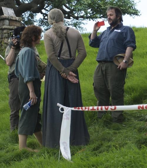 Elijah Wood, Ian McKellen, and Peter Jackson on the set of 'The Hobbit'