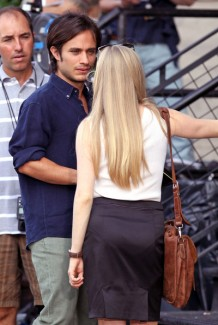 Gael Garcia Bernal with Amanda Seyfried on set