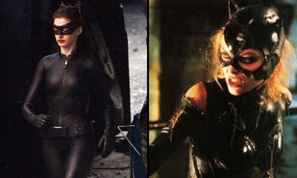 Anne Hathaway and Michelle Pfeiffer as Catwoman