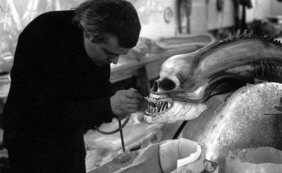 H.R. Giger working on 'Alien'