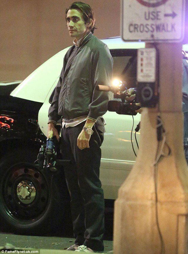 Jake Gyllenhaal on the set of 'Nightcrawler'