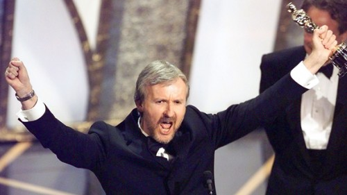 James Cameron winning his Titanic Oscar