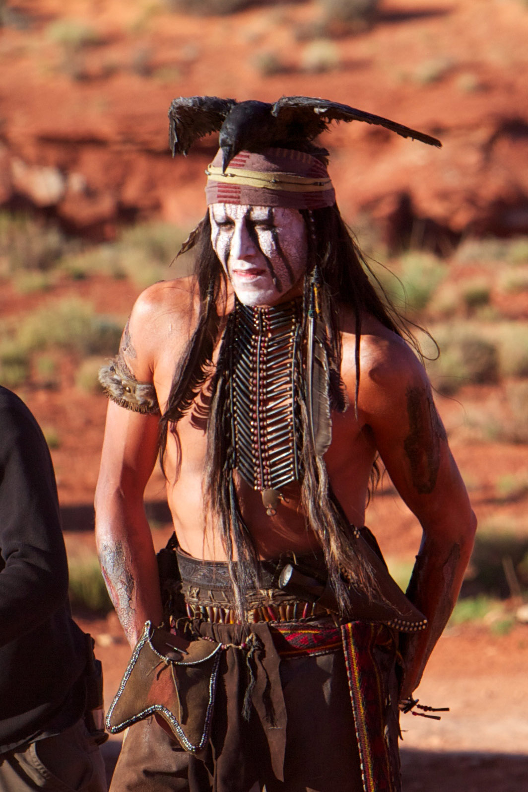 Johnny Depp on the set of 'The Lone Ranger'