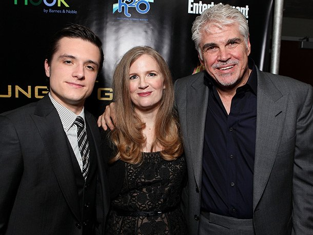 Josh Hutcherson with Suzanne Collins and Gary Ross