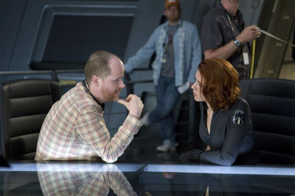 Joss Whedon and Scarlett Johansson