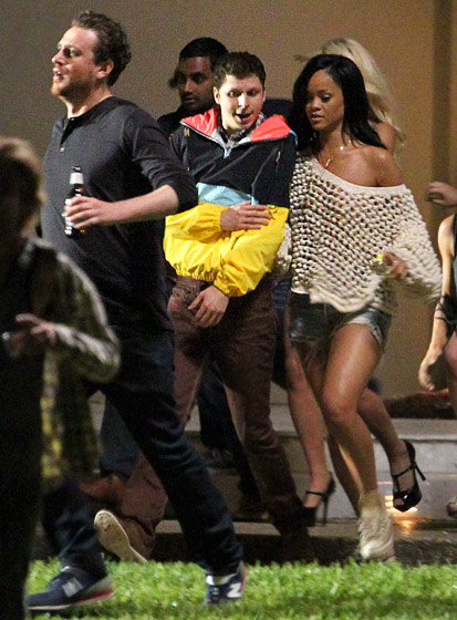 Michael Cera and Rihanna filming 'This Is the End'
