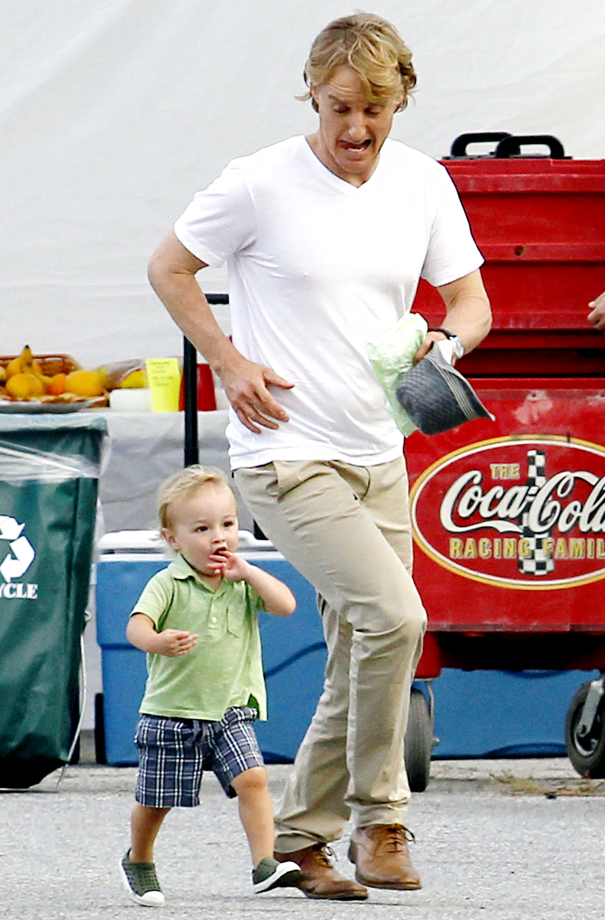 Owen Wilson with his son