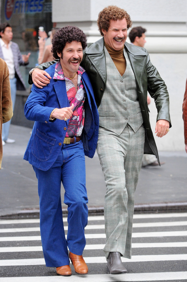 Paul Rudd and Will Ferrell on the set of 'Anchorman 2'
