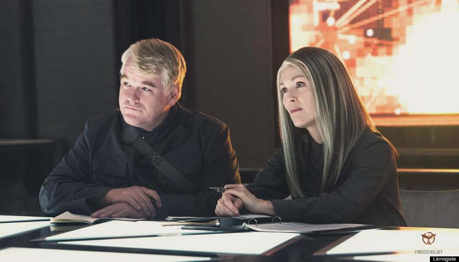 Philip Seymour Hoffman and Julianne Moore in 'Mockingjay Part 1'