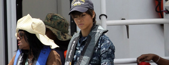 Rihanna on Battleship set