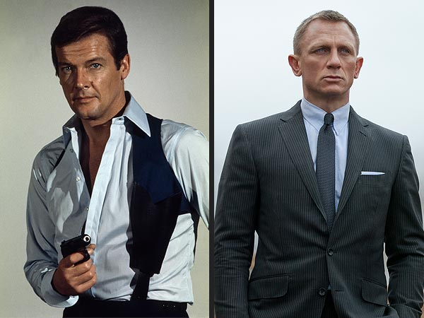 Roger Moore and Daniel Craig as James Bond