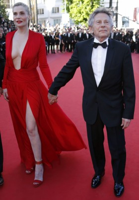 Roman Polanski with his wife at Cannes