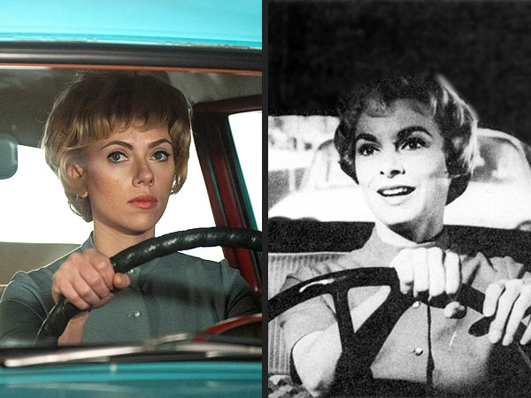 Scarlett Johansson as Janet Leigh and the real Janet Leigh on the right