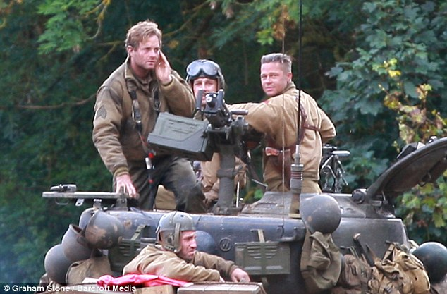 Shia LaBeouf and Brad Pitt filming 'Fury'