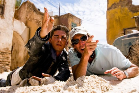 Shia LaBeouf and Michael Bay on Transformers 2 set