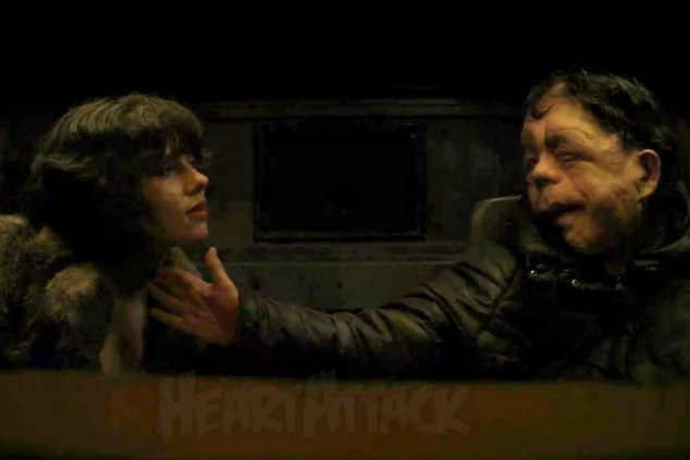 Scarlett Johansson and Adam Pearson in 'Under the Skin'
