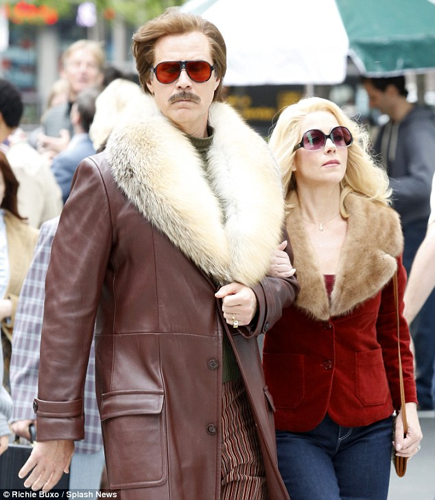 Will Ferrell and Christina Applegate on the set of 'Anchorman 2'