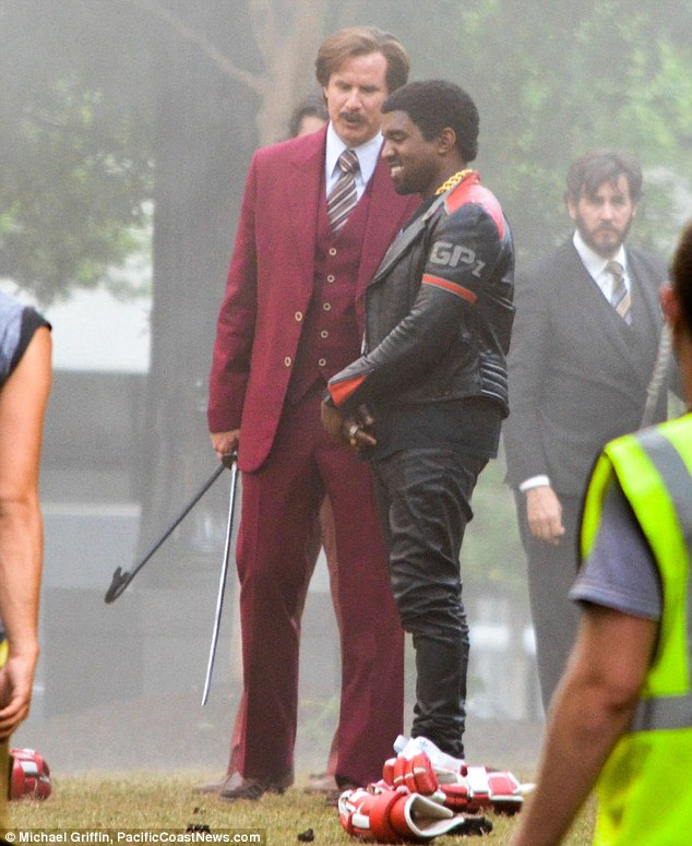 Will Ferrell and Kanye West on the set of 'Anchorman 2'