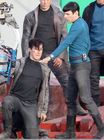 Benedict Cumberbatch and Zachary Quinto on the Star Trek 2 set