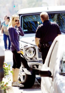 Renee Zellweger at the scene of her car accident