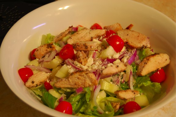 Recipe: Chicken Souvlaki Salad with Dressing