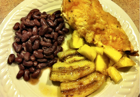 Pineapple Citrus Chicken with friend bananas and beans