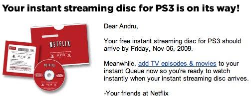 Netflix PS3 disc