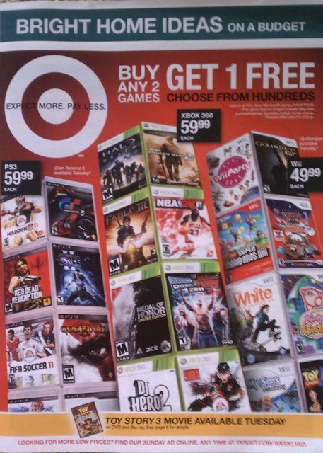 Buy 2 get 1 free games target