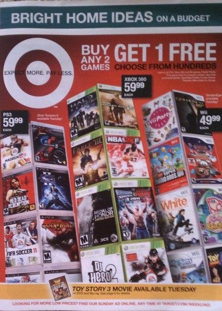 Buy 2 get 1 free games target