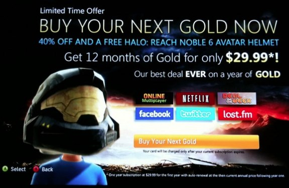 Xbox Live Gold Halo Reach Helmet