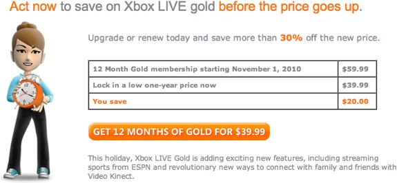 Xbox Live Price Lock
