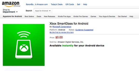 Xbox SmartGlass amazon kindle