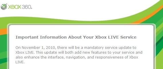Nov 1 2010 xbox live update