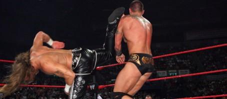 HBK delivers the super-kick on Orton