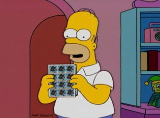 Homer Simpson and Stamps