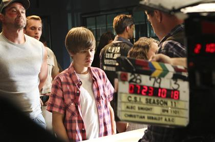Justin Bieber on CSI set