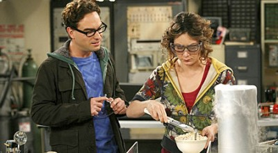 Johnny Galecki and Sara Gilbert in The Big Bang Theory