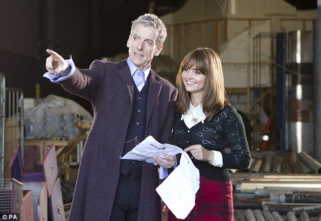 Peter Capaldi and Jenna Coleman on the set of 'Doctor Who'
