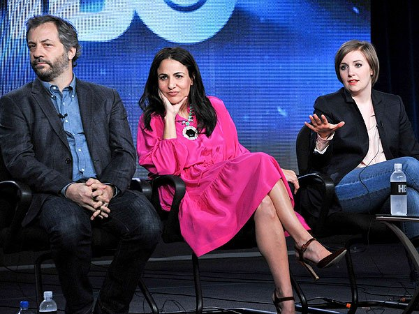 Judd Apatow, producer Jenni Konner, and Lena Dunham