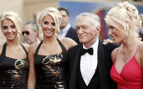 Hugh Hefner, Kristina Shannon, Karissa Shannon and Crystal Harris