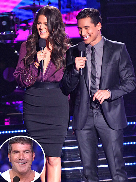 Khloe Kardashian with co-host Mario Lopez and Simon Cowell inset