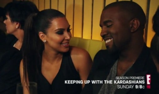 Kim Kardashian and Kanye West on the Kardashian reality show