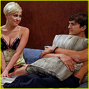 Miley Cyrus and Ashton Kutcher in 'Two and a Half Men'