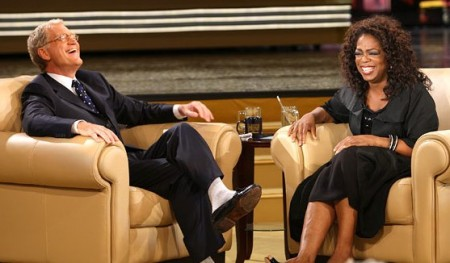 Oprah Winfrey and David Letterman