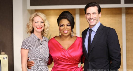 Oprah with January Jones and Jon Hamm