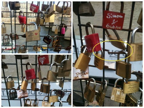 Leslie and Ben locks in Paris