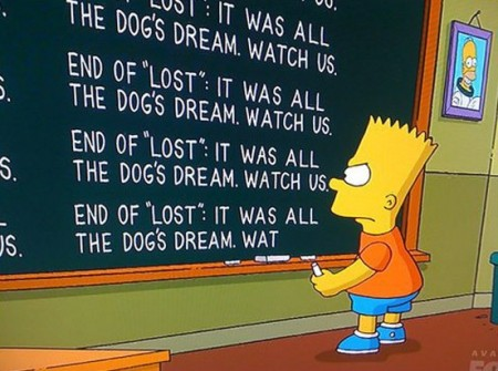 The Simpsons try to spoil Lost