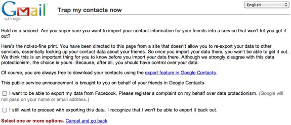 Google warns of facebook data import