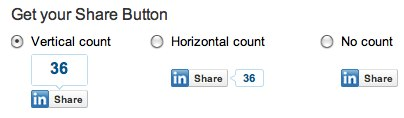 LinkedIn Share Button publishers