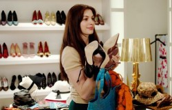 A pre made-over Anne Hathaway in The Devil Wears Prada
